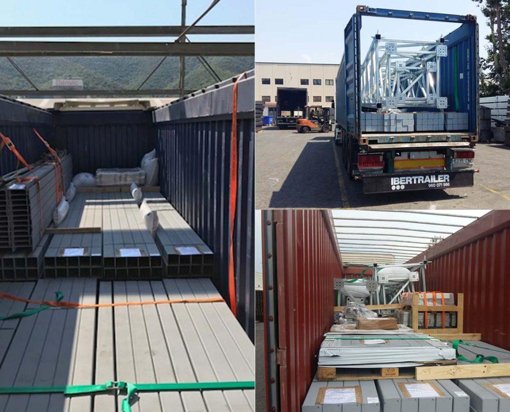 servicio por tierra y mar de transporte de mercancías